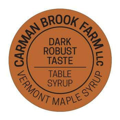 The foil label used for the grade dark robust taste table syrup from Carman Brook Farm.