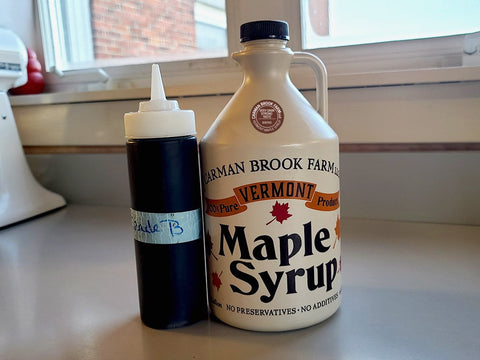 I like to use a very dark strong taste maple syrup in this roll recipe.