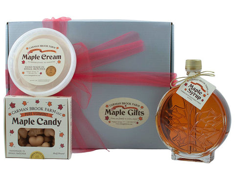 Valentine's gift box of maple syrup for her and him.