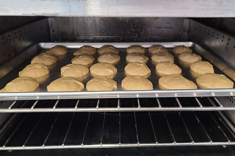 Inside my oven are my maple whoopie pie cake halves baking to perfection.