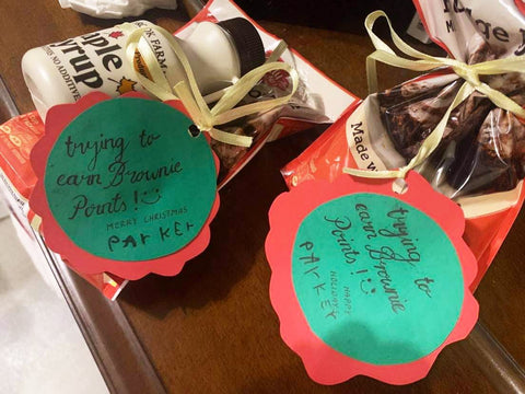 Teacher appreciation ideas, maple syrup in a gift bag
