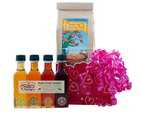 Valentine's Day gift box with four grades of Vermont maple syrup and pancakes for breakfast.