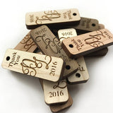 Wooden thank you hang tags that are custom made.