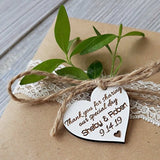 Heart shaped wooden hang tags will look beautiful on your maple syrup favor bottles.