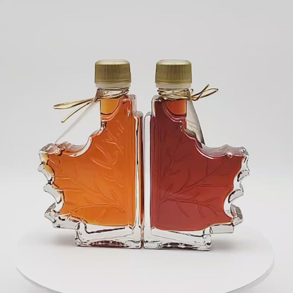 Two grades of maple syrup in a gift box make a stunning display.