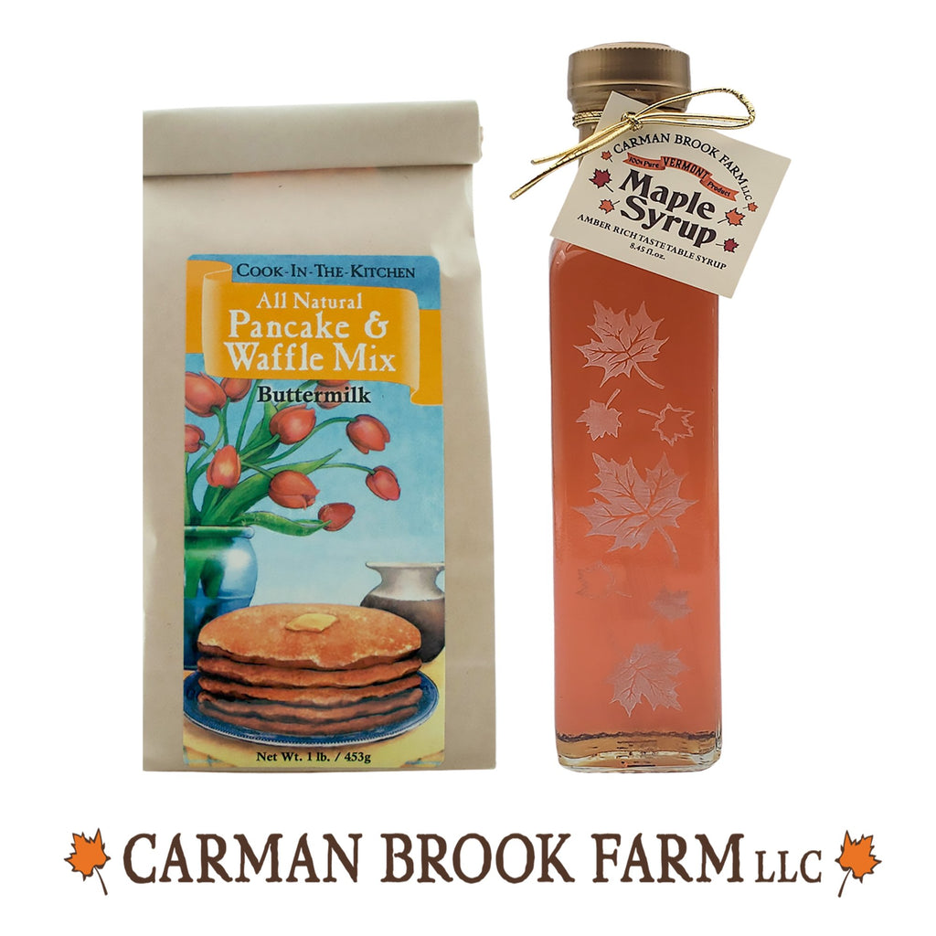 Autumn leaf glass bottle with pancake mix