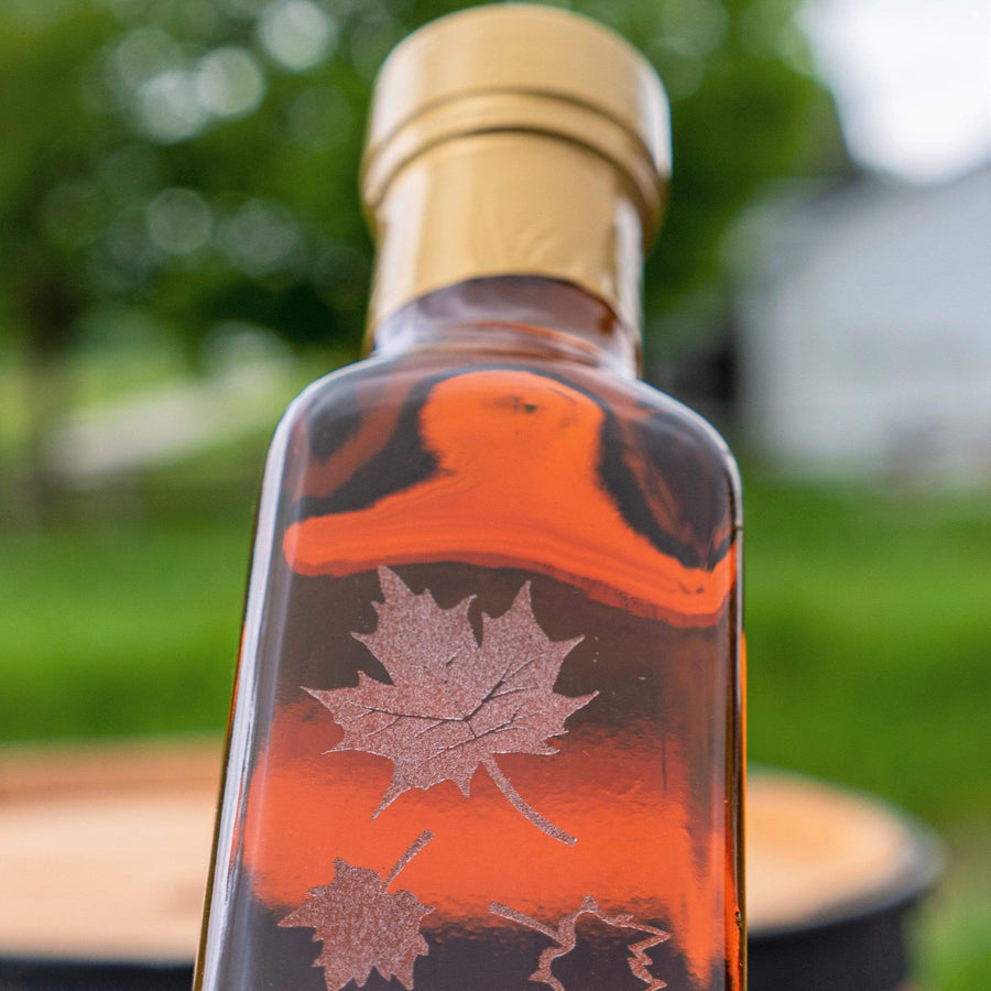 maple syrup bottle with unique motif for corporate gift giving