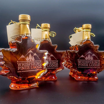 Engraved branded corporate gift bottle of maple syrup.