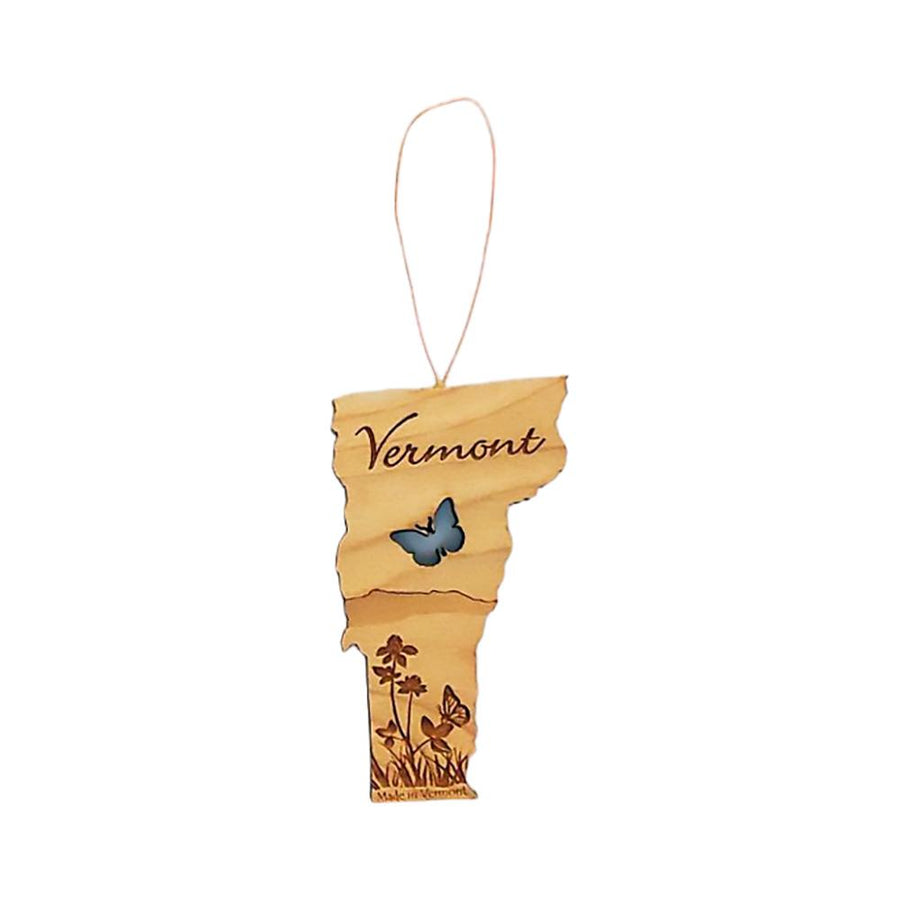 Vermont wooden ornament for summer with a butterfly cutout.