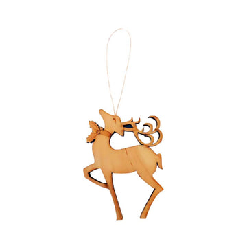 Wooden reindeer ornament, handmade by Vermont woodworker.