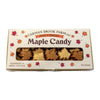 Mixed flavors of maple candy in a one pound box.