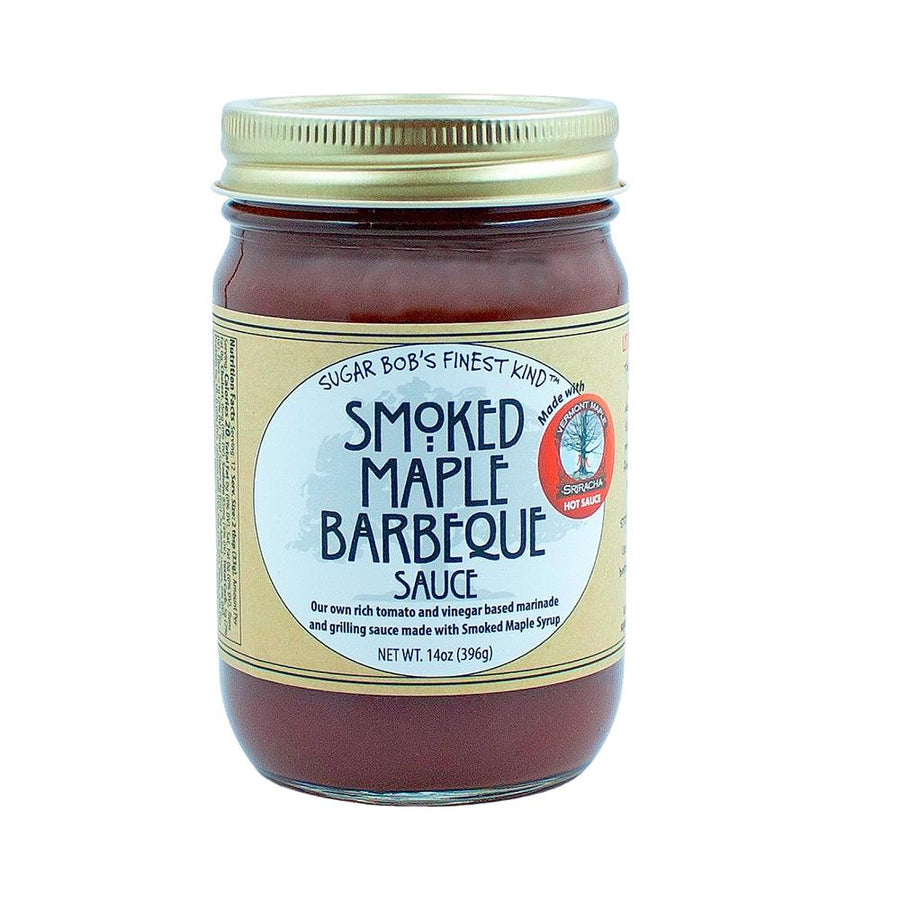 Jar of Sugar Bob's finest Smoked Maple Barbeque Sauce.