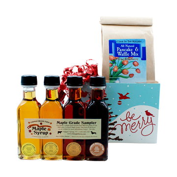 Christmas gift box with blueberry pancake mix