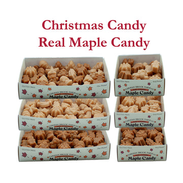 Maple candy in Christmas shapes, 3 different sizes and 3 different flavors.