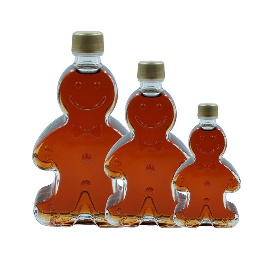 Gingerbread boy bottles with real Vermont maple syrup.