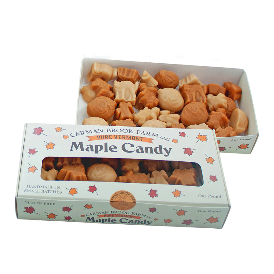 Vegan maple candy pound box with pumpkins and witches.