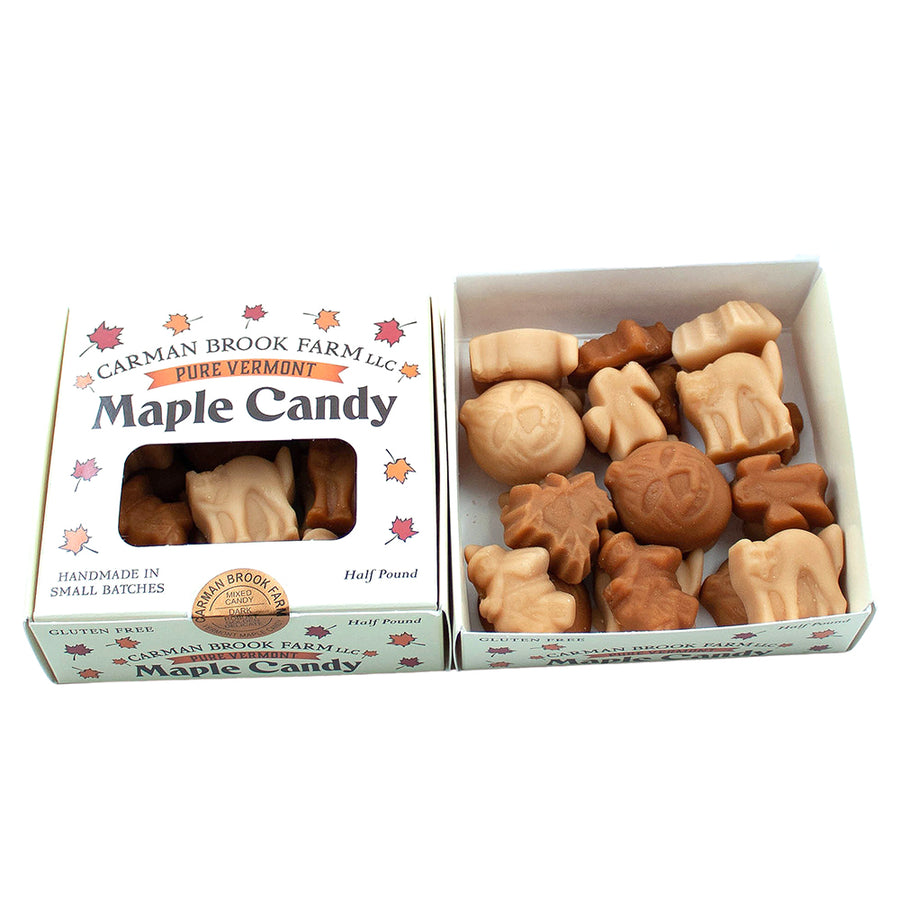 Half pound box of mixed maple flavor halloween candy.