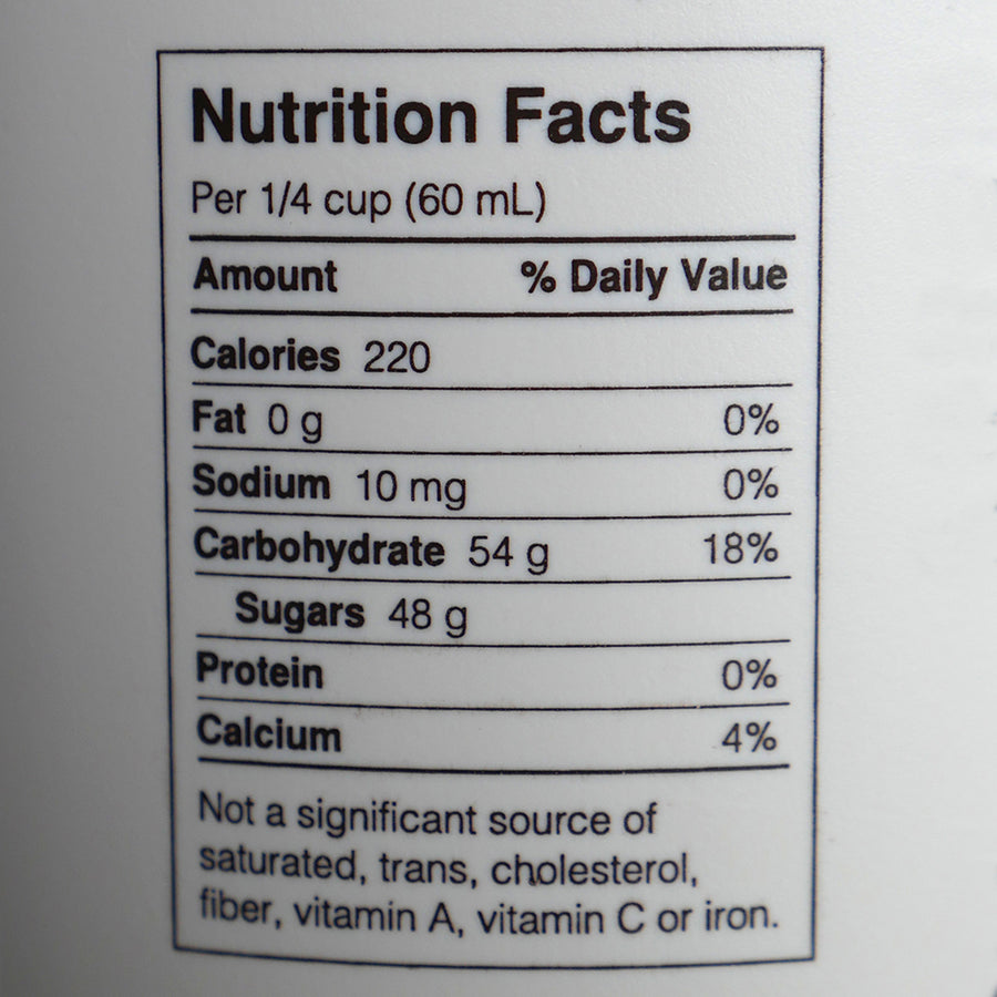 Nutrition facts for maple syrup.