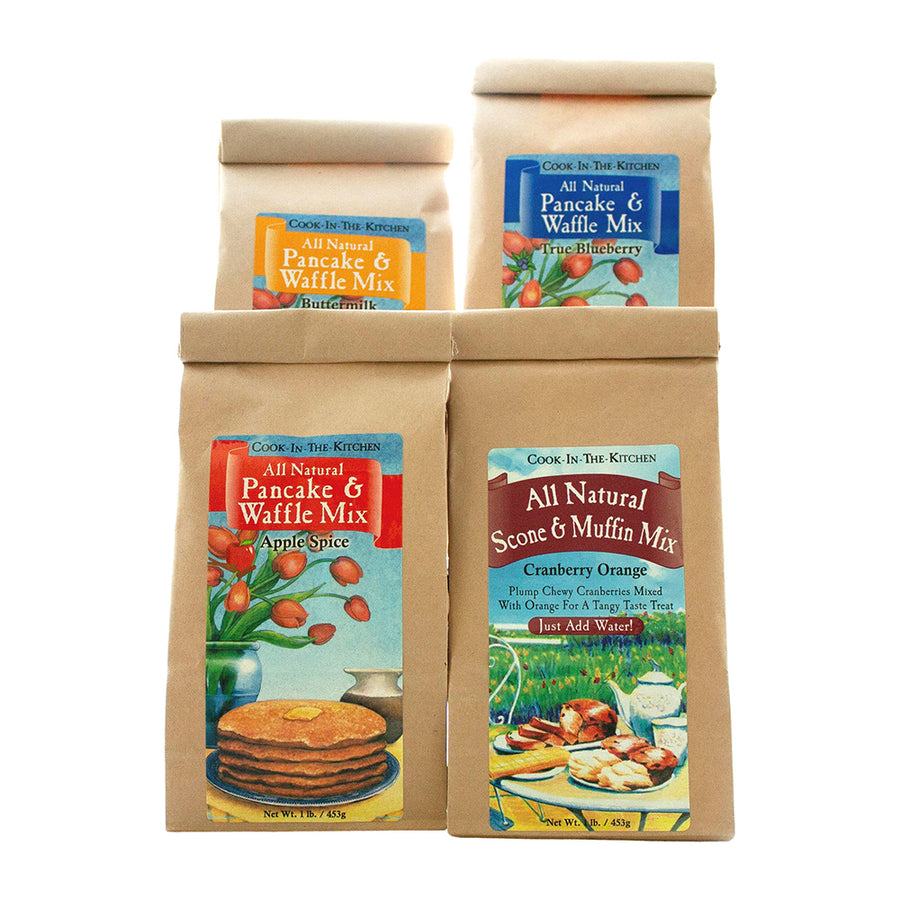 All four pancake mixes available for the Christmas Sampler Box.