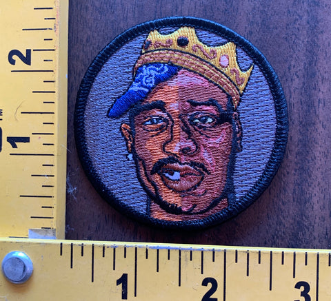 "Tupac Biggie Smalls ""king of hip hop"" embroidered patch"