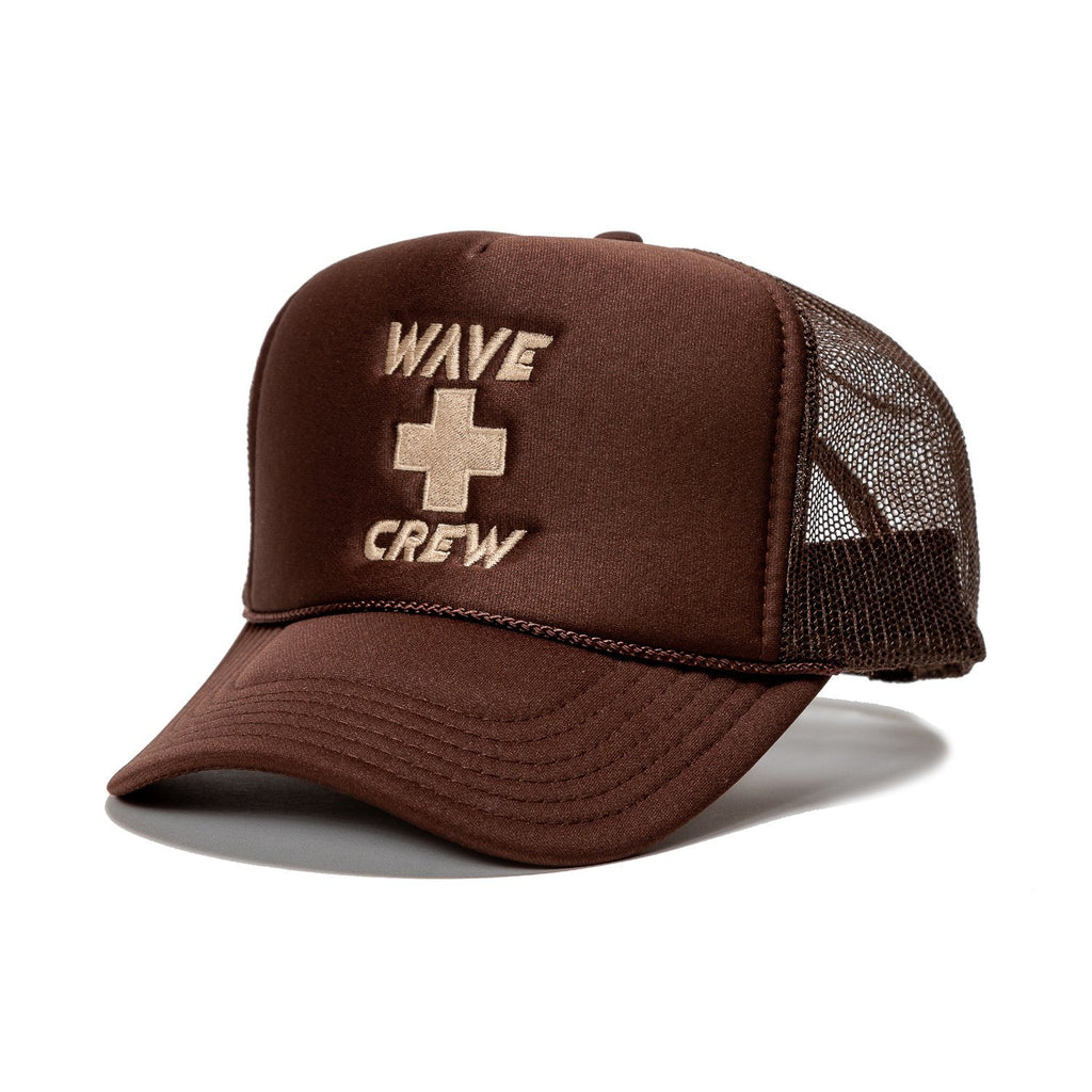 Wave Crew Trucker Hat in Brown