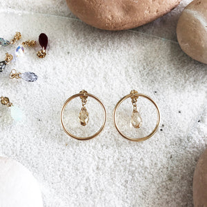 Dazzle them with the customizable Swarovski Crystals. This two-way style earrings are perfect for any occasion. You can enjoy plain hoop studs with regular backings you have or upgrade your style with these sparkly crystal backings.  Material: 14K Gold-Filled