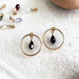 Circle Hoop Studs with Crystal Backings