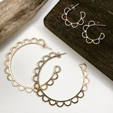 "Most Popular Earrings Of All Time!  Attention to all the hoop lovers! Upgrade your hoop collection with these unique, floral, feminine silhouette hoops and make a bold statement.     Materials  14K Gold Filled  2 1/4"" diameter"