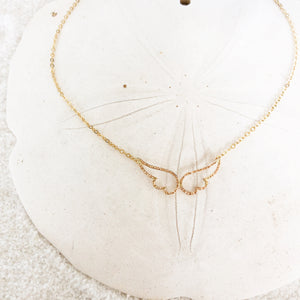 "Angel Wing Necklace made of 24K Gold Filled. Dainty and feminine necklace. Chain length from 14"" up to 22"" available. Perfect to wear as a short necklace or a semi choker to keep delicate and feminine look."