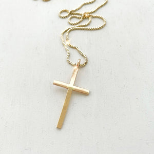 "Keep your faith close wherever you go.  Large Cross Necklace* is a statement piece for both men and women.    Each cross charm is carefully handmade with 14k Gold Filled.     14K Gold Filled  Cross size: 3cm x 2cm (1.2"" x 0.8"")  *Box chain is used for this necklace."