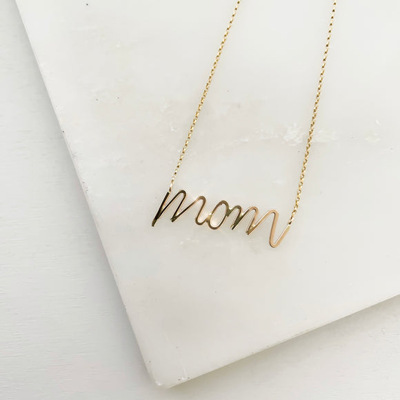 Handwritten Mom Necklace