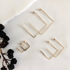 square edge tilted-square  hoops SIMPLE, EDGY, MODERN, DAINTY - ALL IN ONE  These hoops are perfect style and size for everyday-wear.   14K Gold Filled. simple hoops. simple tilted-square hoops. statement hoops. Large tilted-square hoops. Medium tilted-square Hoops. large square hoops. medium square hoops
