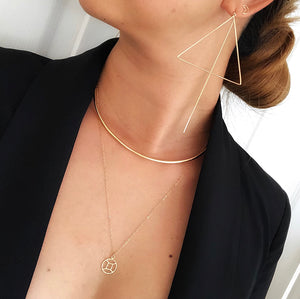"This semi choker styled necklace is classy, elegant and edgy that gives a bold impact. Gorgeous enough to catch eyes on its own but also works as perfect layering with our zodiac necklace.    14K Gold-Filled     *15"" on pictures. Zodiac Necklace (19"") is sold separately."