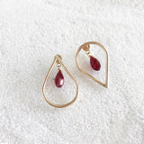 Teardrop Hoop Studs with Swarovski Crystal Backings