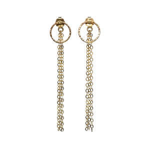 Circle Studs with Chain Backings. This 2-way styles of earrings are MUST-HAVE! Enjoy a dangle style or wear simple studs style with the regular backing you already have!!  Materials 14K Gold Filled  Size 2 1/4""