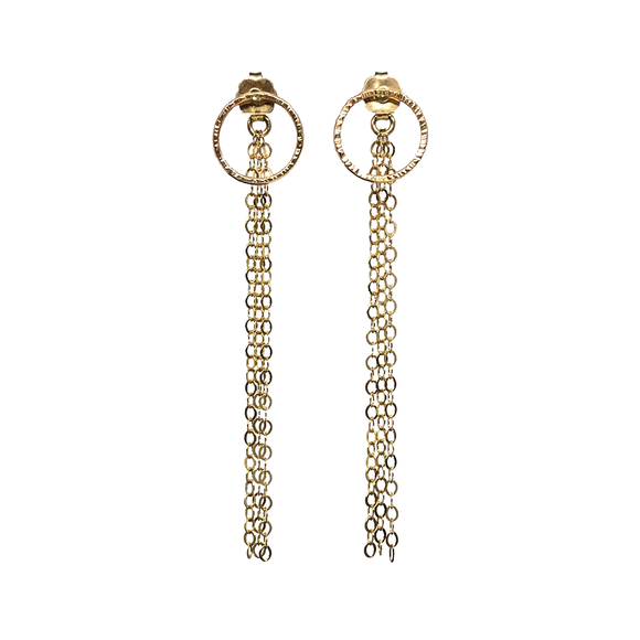 Circle Studs with Chain Backings. This 2-way styles of earrings are MUST-HAVE! Enjoy a dangle style or wear simple studs style with the regular backing you already have!!  Materials 14K Gold Filled  Size 2 1/4