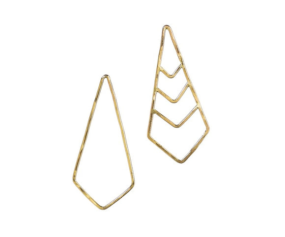 Elongated Chevron Earrings are asymmetrical and unique style that elevate you to the modern look. They are made of 14K gold filled. They are made of 14K gold filled.