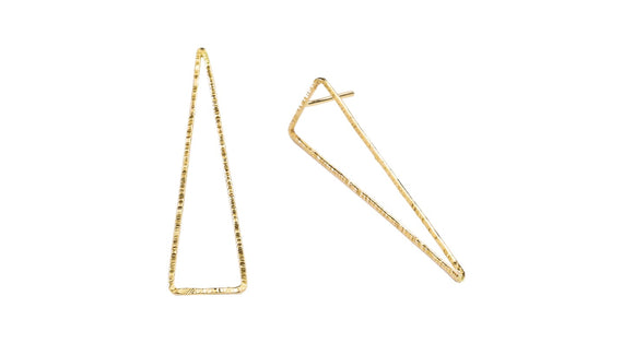 Add the newest modern look in your everyday with this asymmetrical upside down Triangle earrings.    14K Gold Filled  Length: 1 5/8