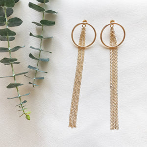 Elevate your look with these two-way style earrings - night out and get a bold statement with extra long chain backs or work mood and be simple with plain backings. Made of 14k Gold filled. Circle Hoop Stud Earrings with Extra Long Chain Backings.