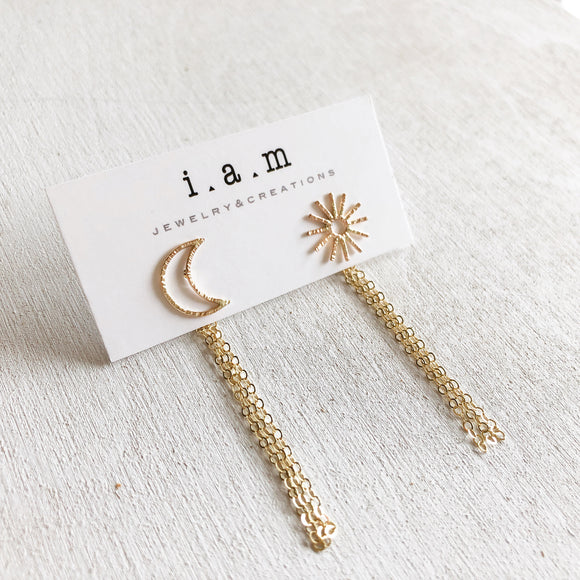 SUN+MOON Studs with Chain Backings