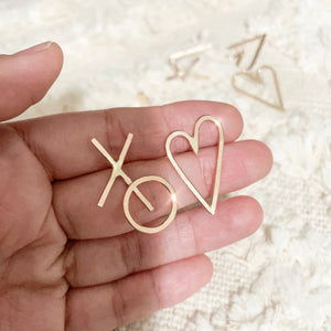 "Handwritten love letters are the perfect reminders that love is all is around. Show your love without words.  XO ♡(Hugs & Kisses Heart) Earrings* are the wearable little note of showing hugs and kisses.   14k Gold Filled  Size  ♡: 1"" width 5/8""  XO: 1"" x 3/4"""