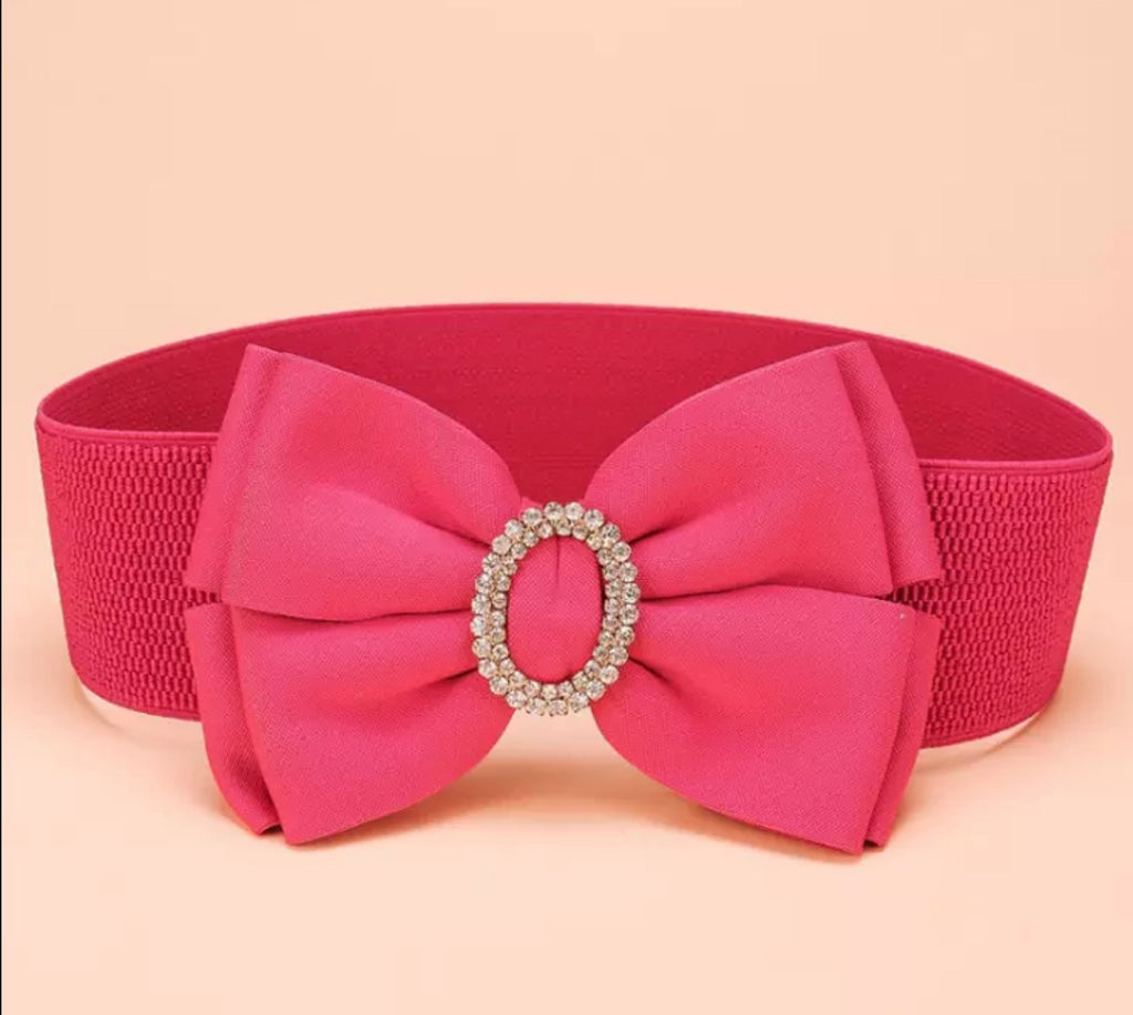 Bow Cinch Belt with Rhinestone Oval Accent - Babe You