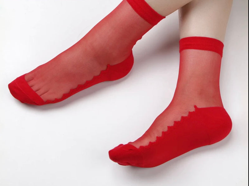 Sheer Red Ankle Socks - Babe You