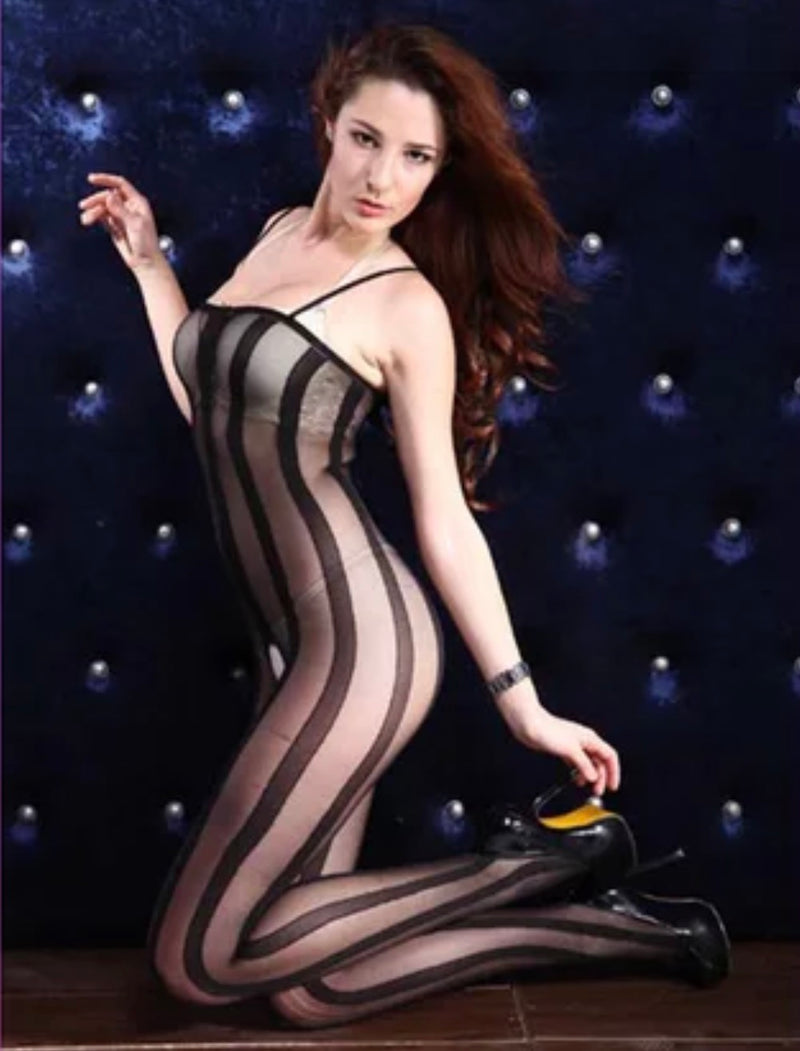 Stripe Overlay Body-Stocking - Babe You