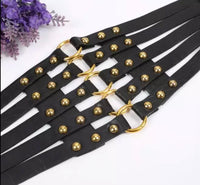 Wide Faux leather Cinch Belt with Rivets - Babe You