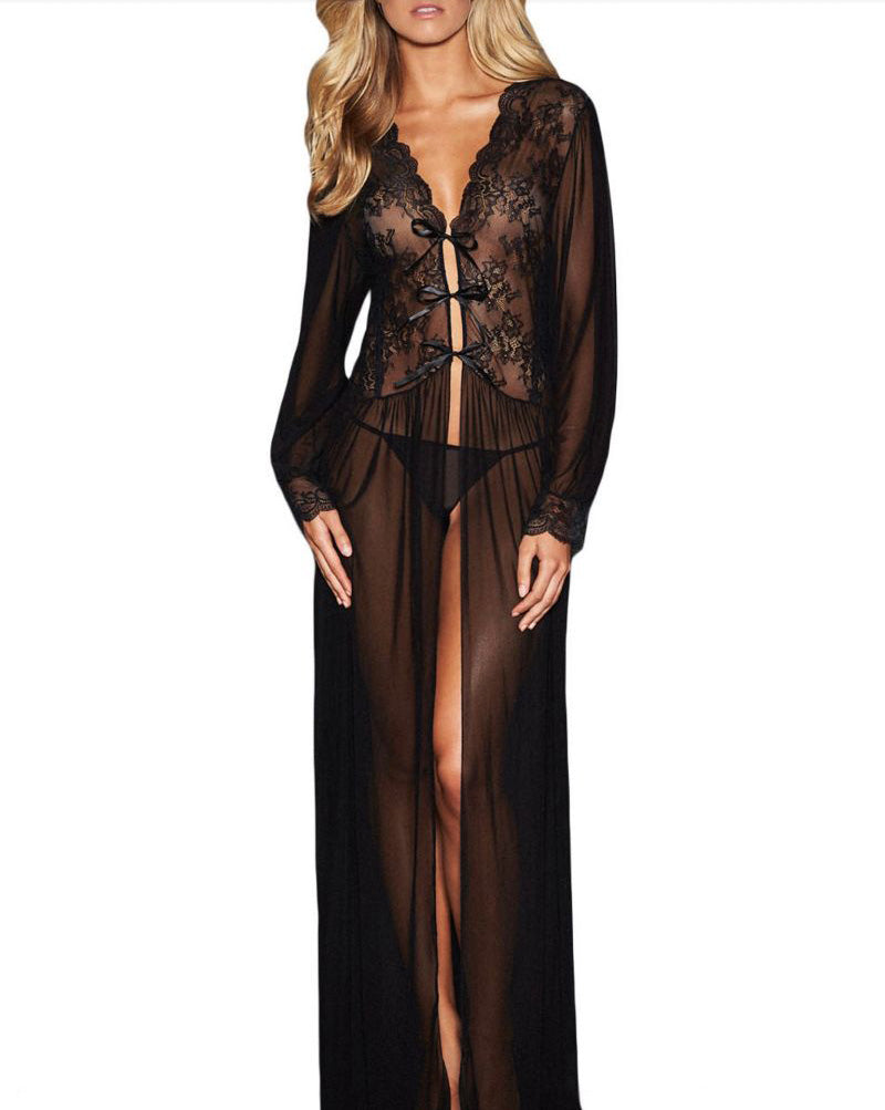 Old-Hollywood-Style Lace Negligee Robe - Babe You
