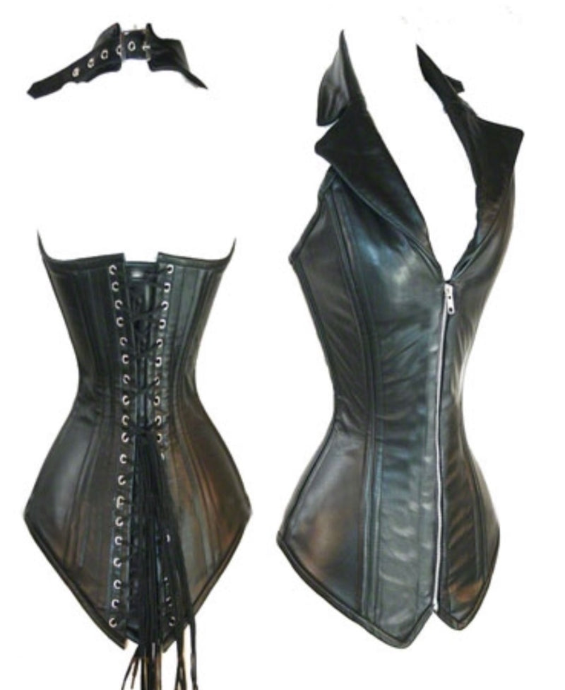 Black Collared Faux Leather Corset - Babe You