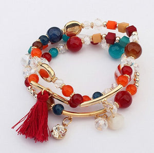 Multi Color Stretch Tassel Bead Bracelet - Babe You