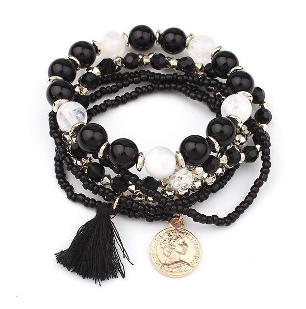 Black & Gold Stretch Tassel Bead Bracelet - Babe You