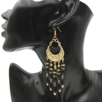 Gold Chandelier Earrings with Black Beads - Babe You